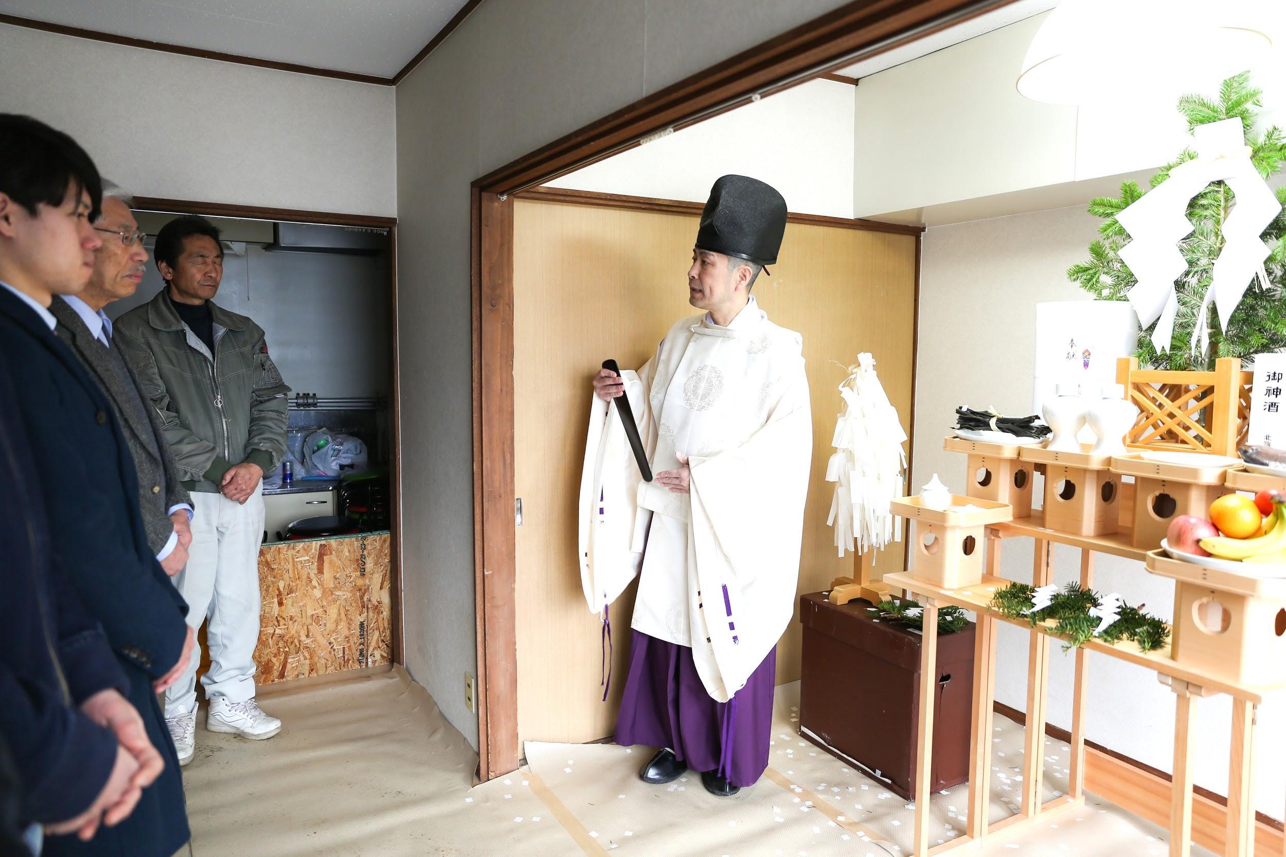 ゲストハウスyuyu開業前のお祓い
